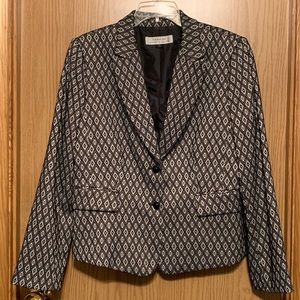 Tahari Gray Black Geometric Fitted Blazer size 14